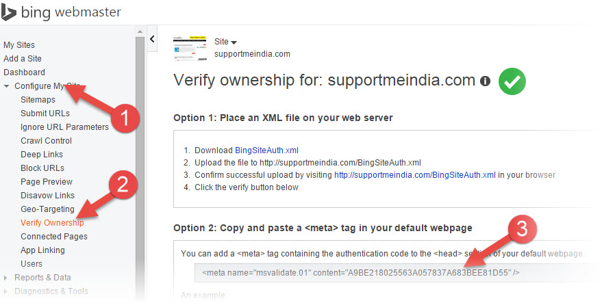Verify site to blog