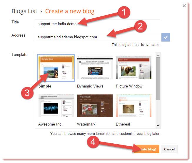 create new blog on blogger