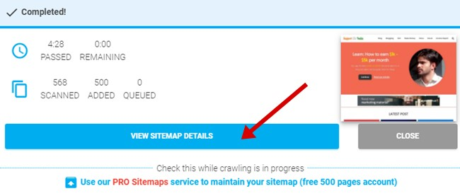 Generate sitemap completed