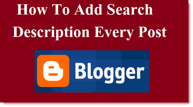 add search description to blogger every post