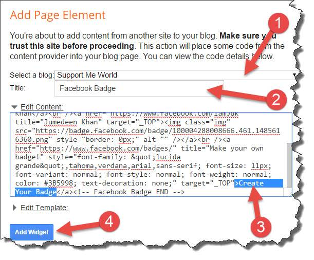 choose blog to add facebook widget
