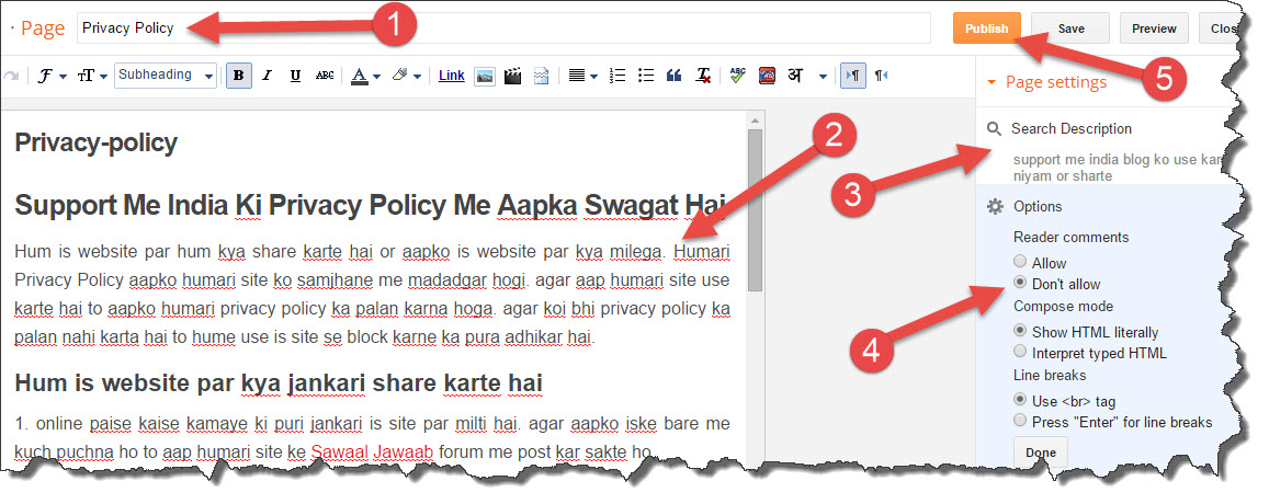 hindi privacy policy