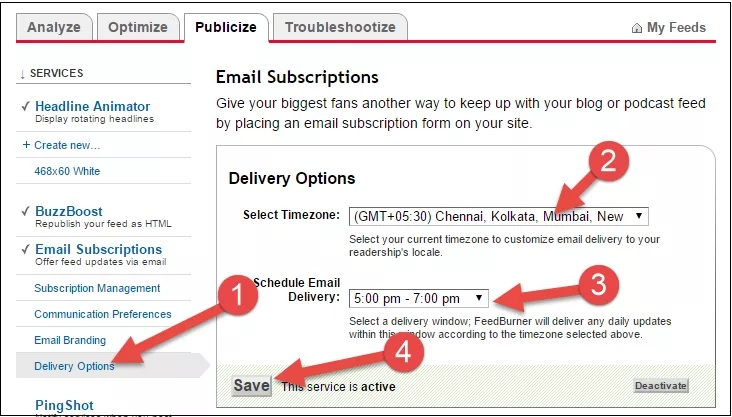 email delivery time setting