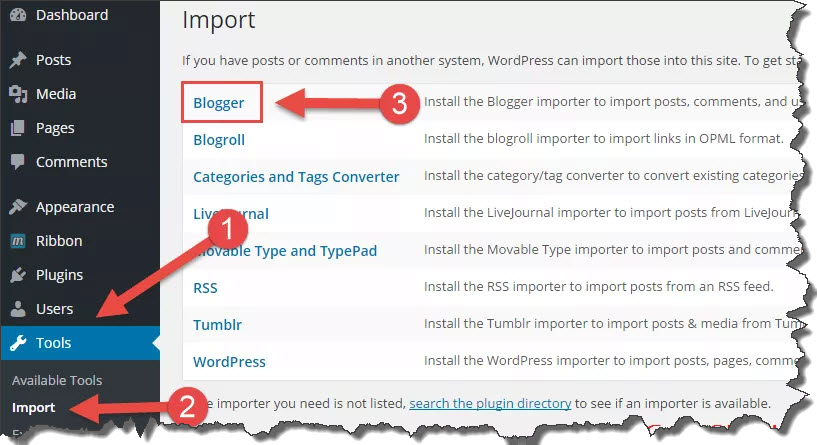 import blogger file to WordPress