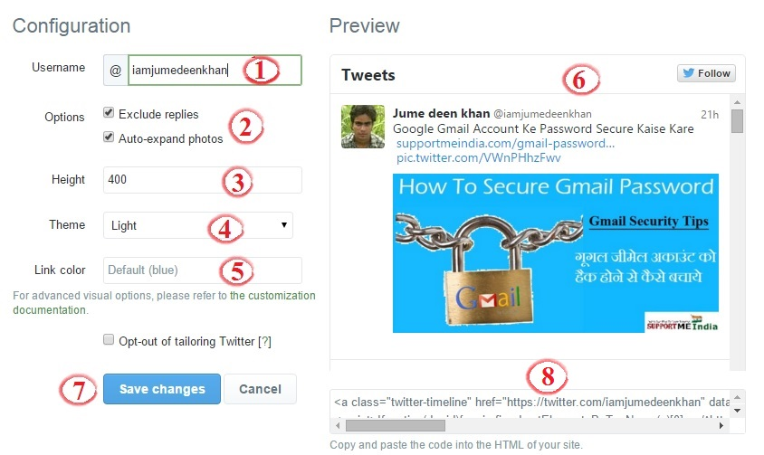 Create latest tweet widget