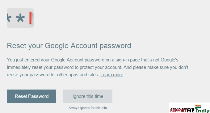 Password alert warning message