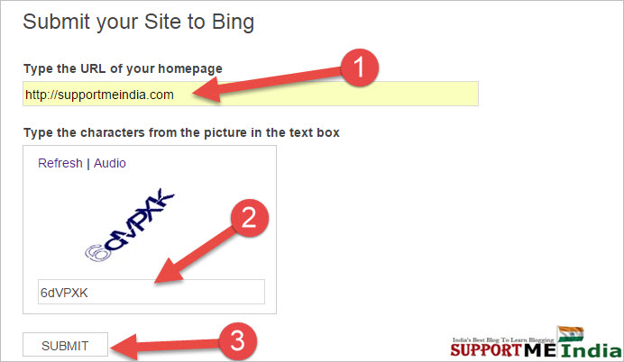 add site to bing