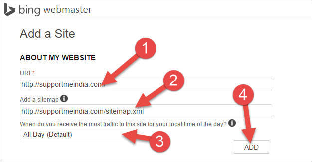 add sitemap to bing