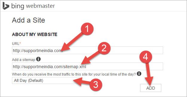 add sitemap to bing