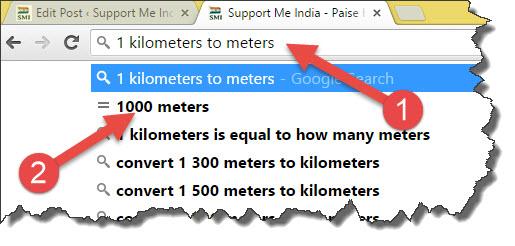 kilometers to meters