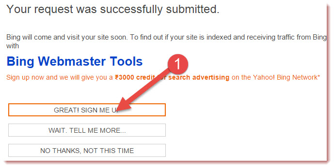 sign up on bing webmaster tools