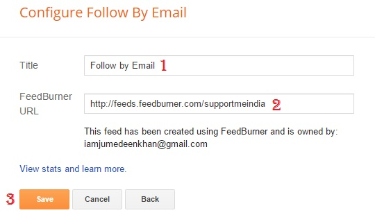 add your feedburner url