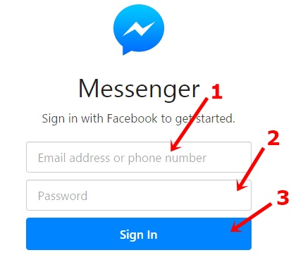 facebook messenger web log in