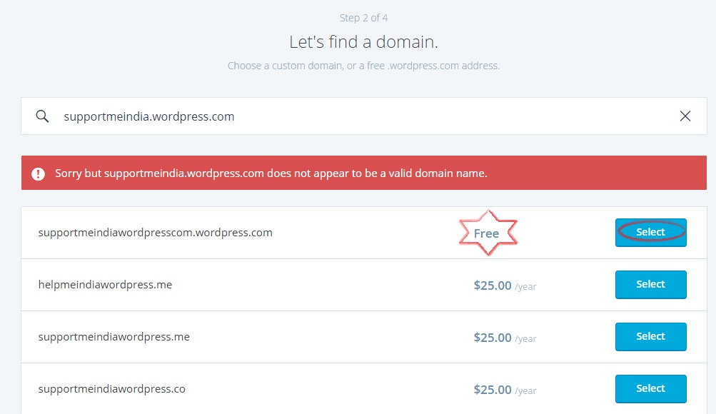 select WordPress.com free domain