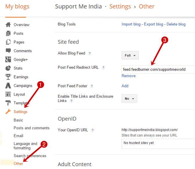 Add feedburner feed url in blog