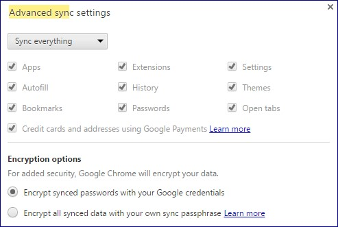 Advanced Sync Settings
