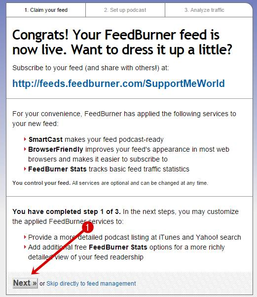 Feedburner Welcome Message