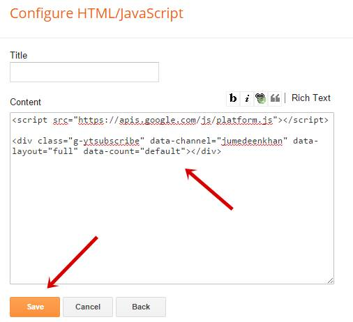 Paste code in blogger widget