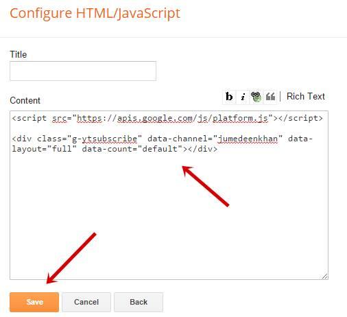Paste code in blogger widget