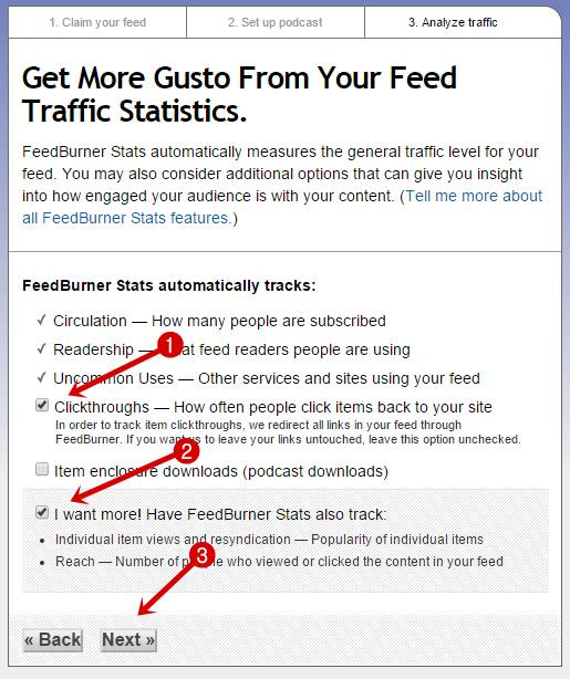 Select your feedburner stats option