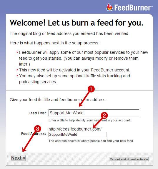 Set your blog title or feedburner url