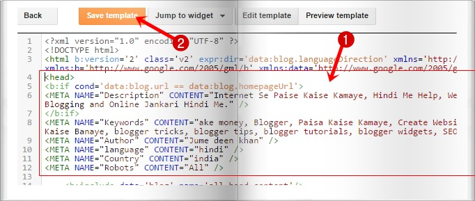paste meta tags code
