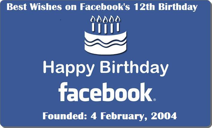 Best Wishes on Facebook's 12th Birth Day To Mark Zuckerberg