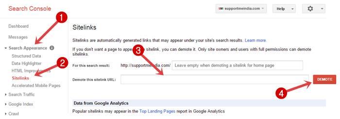 Block google sitelinks