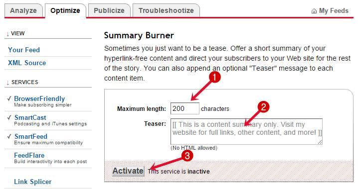 Summary Burner Settings