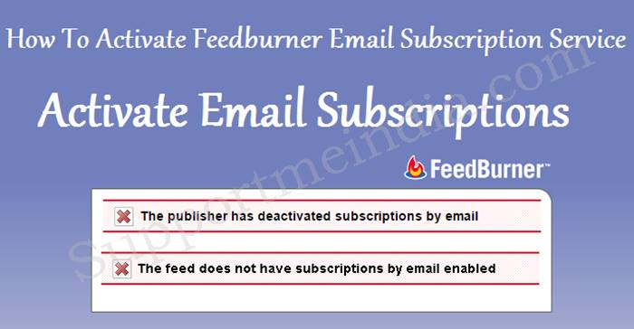 Activate Email Subsription on Feedburner