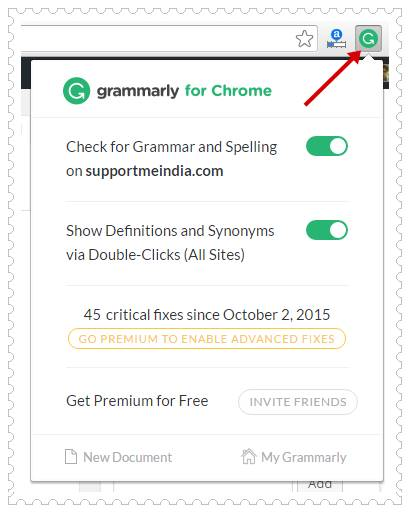 Add Grammarly Spell Checker Tools