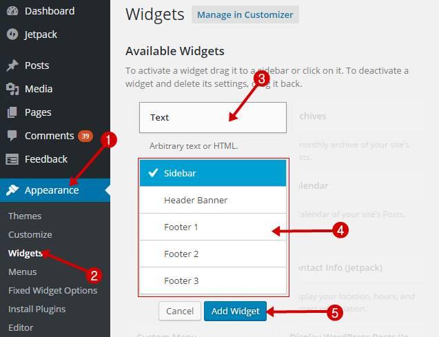 Add widget to wordpress blog