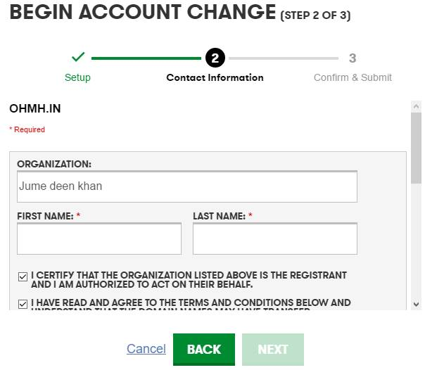 Begin Account Change 2