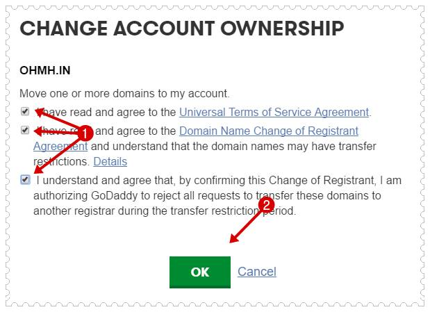 Change godaddy account ownership