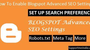 How To Enable Blogspot Advanced SEO Settings