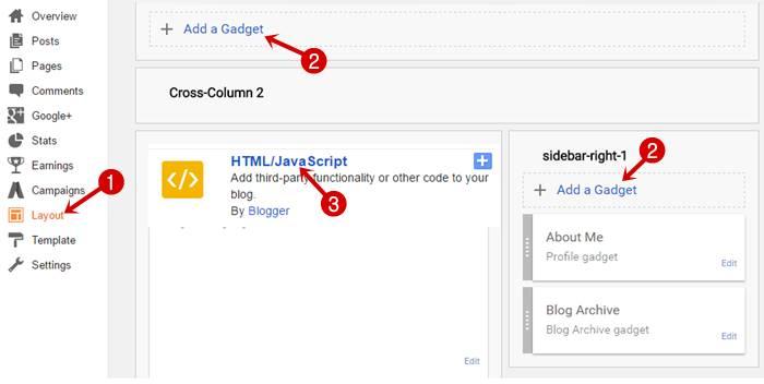 Add widget in Blogger