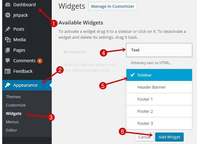 Add widget in WordPress