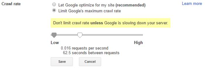 Set Limit Google's maximum crawl rate