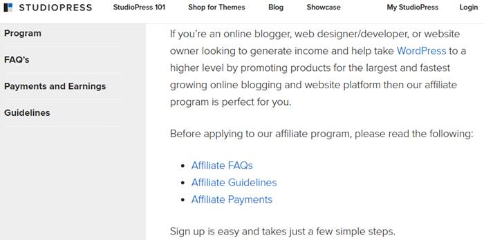 StudioPress Affiliate Marketing Program