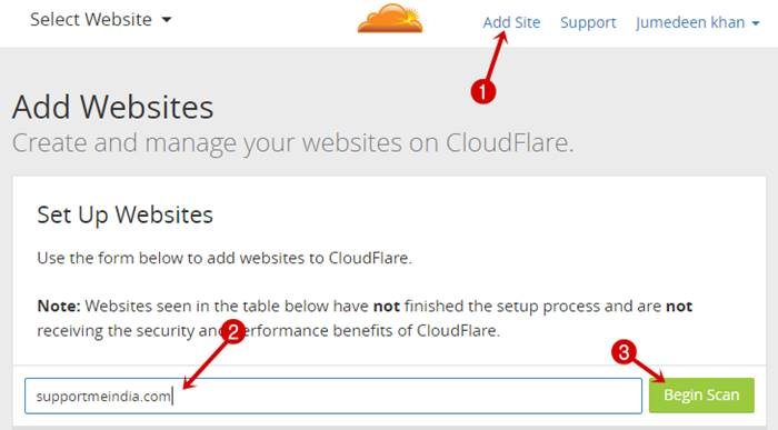 Add site on CloudFlare