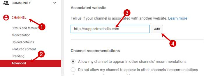 Verify site to YouTube