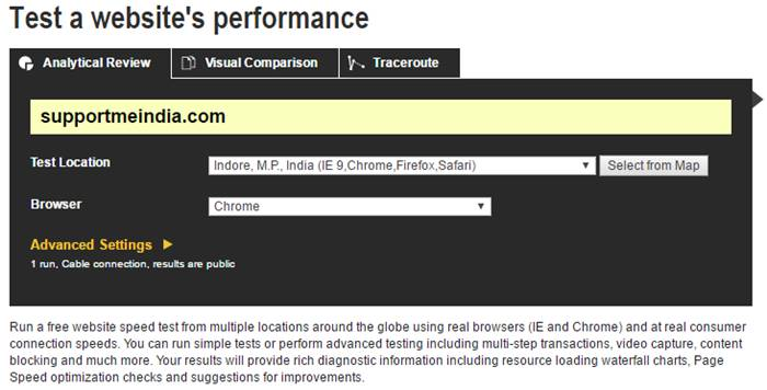Webpagetest - Test a websiye's performance
