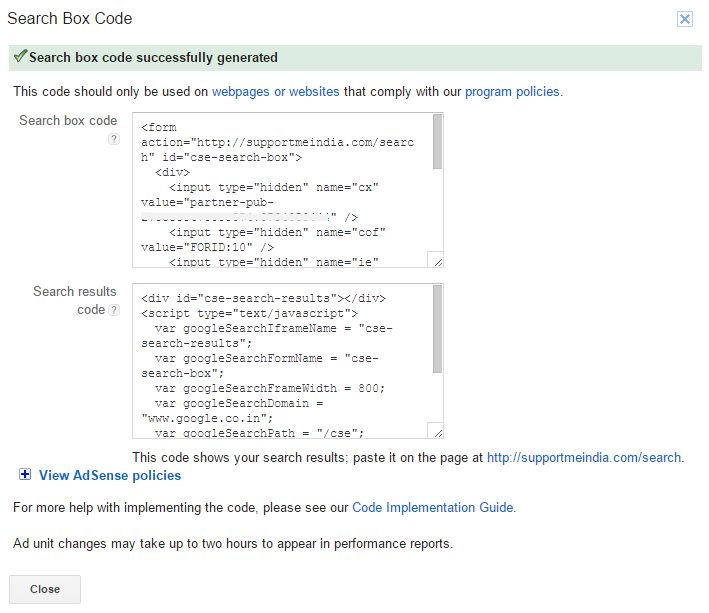 Adsense search ads codes