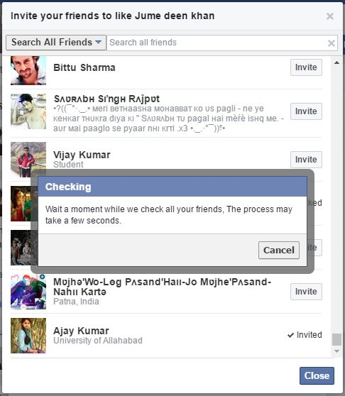 Invite All Friends To Like Facebook Page by one click