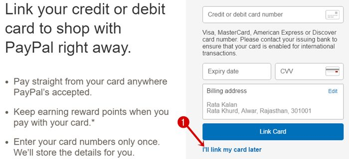 Link your debit card or credit card