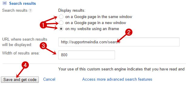 Search results areas