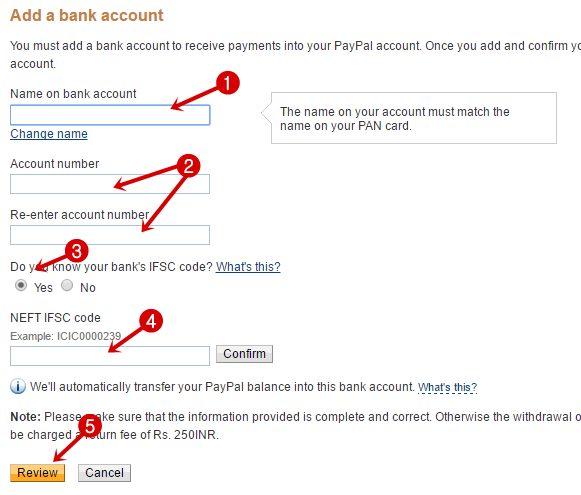 add a bank account