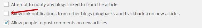 disable pingbacks and trackbacks