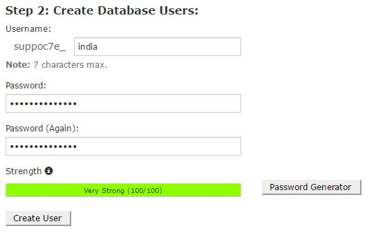 Create Database Users