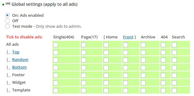 Global settings (apply to all ads)